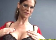 Bigtitted cougar slut tugging on the dudes big ramrod