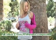 Julia hawt blond teenage flashing boobs in a public place