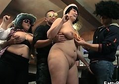 Porky girlies strip for guys in the bar