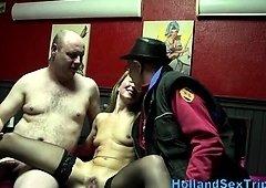 European hooker in stockings fucks and plus sucks