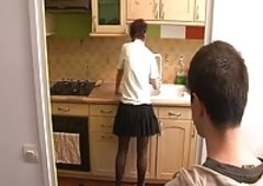 Jerking Off In Kitchen with Not His Mother BVR