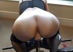 Lingerie-clad cougar with a nice wazoo enjoying a hardcore dildo machine have an intercourse