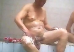 Asian Grandpa with big balls take a bath