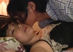 Mature Oriental is drilled by a guy after waking up