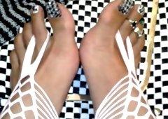 Foot Goddess Bianca wearing belt socks